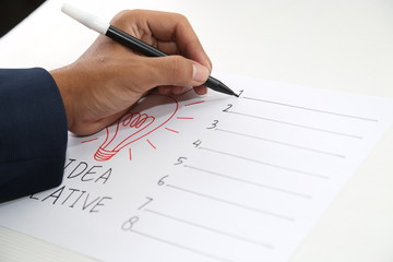 hand drawing paper of idea creative form list