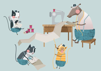 Cartoon of a sheep working with a sewing machine and three cats assistants
