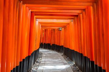 red torii gate of fushimi inari in kyoto, Japan