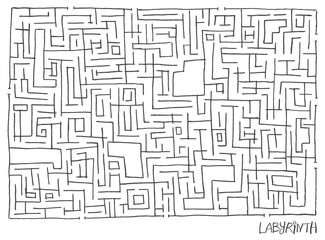 Hand drawn contour maze. Vector isolated illustration