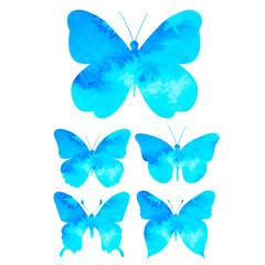 isolated blue watercolor butterfly silhouette