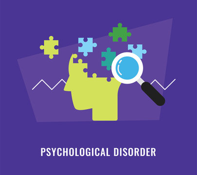 Psychological disorder with head and jigsaw puzzle illustration