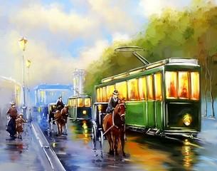 Paintings cityscape. Old city, tram. Fine art.