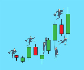 Young happy businessman on the top of the finance candle graph. Flat vector illustration