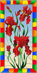 Illustration in stained glass style flower of red irises on a sky  background in a bright frame,rectangular  image