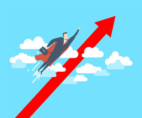 Young happy businessman as a superhero fly up to the success. Flat vector illustration