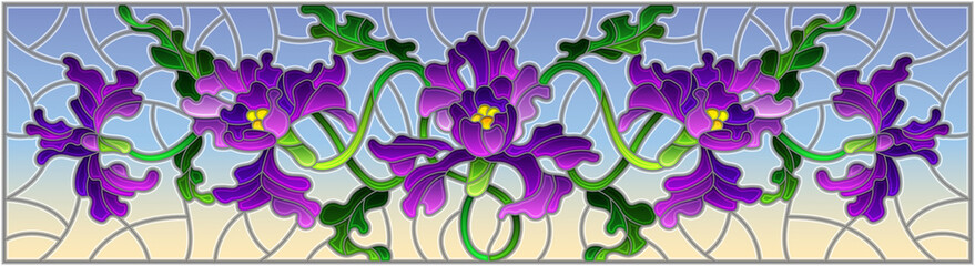 Illustration in stained glass style with flowers and leaves of purple iris flower on blue background, horizontal image