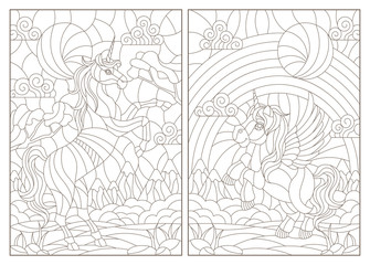 Set of contour illustrations of stained glass Windows with cartoon unicorns on the background of landscapes and sky, dark contours on a white background