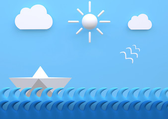 landscape with paper boat sailing at sea with blue sky, 3D illustration