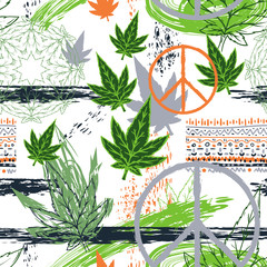 Seamless pattern with cannabis leaves, hippie peace symbol, ethnic ornament and grunge brush strokes. Abstract background in patchwork style. Vector illustration