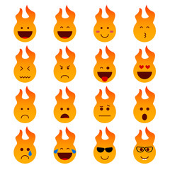 Emotion icons set, smile vector illustration. Different emotions fire character, icon isolated collection for chats and stickers. oncept for cards or banners