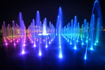 This a view of colourful fountain in Lublin, Poland.