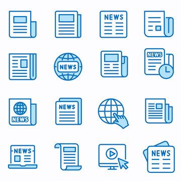 News flat line icon set. Vector illustration. Editable stroke.