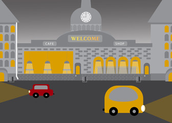 City landscape in flat vector style. Evening time