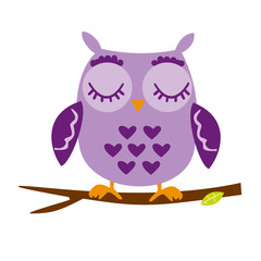 Violet Owl Sitting on a Branch, Abstract Background, Cartoon Character Isolated on White Vector Illustration EPS 10