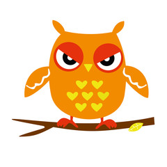Orange Owl Sitting on a Branch, Abstract Background, Cartoon Character Isolated on White Vector Illustration EPS 10