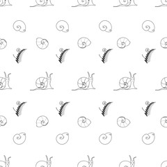 Cheerful children's pattern Attractive handmade snails The idea of packaging, textiles, tiles, wallpaper