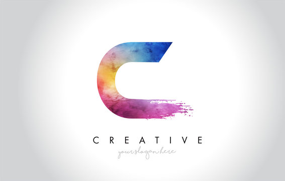 C Paintbrush Letter Design with Watercolor Brush Stroke and Modern Vibrant Colors