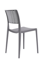Plastic grey chair with a wicker back. Patio or cafe furniture.