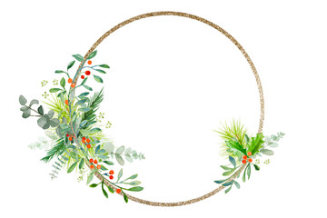 Minimal Christmas wreath with branches and golden ring