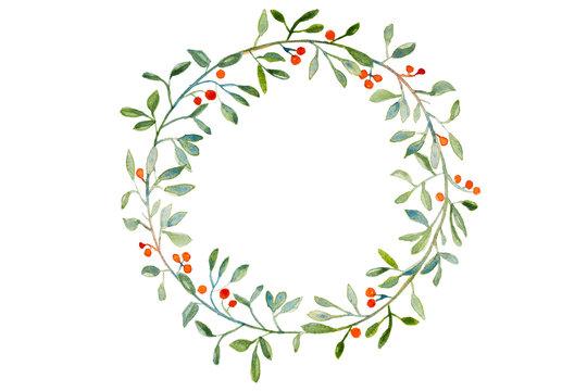 Handmade watercolor Christmas wreath