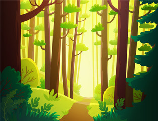 Cartoon forest with bright sunlight and  green foliage. Background vector illustration.