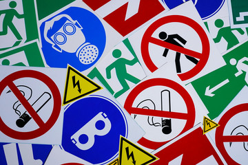 Safety signs and symbols. Health and safety signs and symbols in the workplace