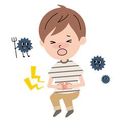 腹痛に苦しむ男の子