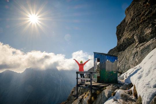Travel to unique mountain toilet in High Tatras, Slovakia