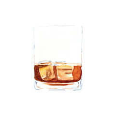 Watercolor hand drawn sketch illustration a glass of whiskey with ice isolated on white