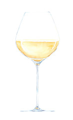 Watercolor hand drawn sketch illustration of glass with white wine isolated on white