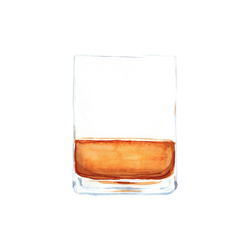 Watercolor hand drawn sketch illustration a glass of whiskey without ice isolated on white