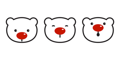 bear vector polar bear christmas icon logo red nose symbol cartoon illustration