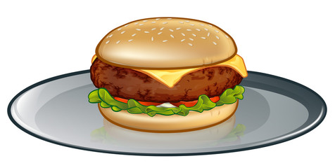 An illustration of a cartoon cheese burger or hamburger on a plate