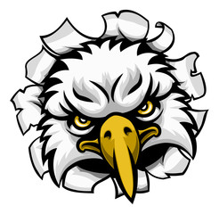 An eagle tough mascot face ripping through the background