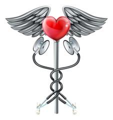 A heart caduceus stethoscope medical icon concept