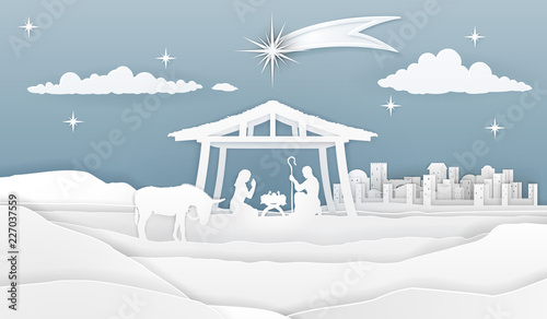 Christmas Stable Background.A Nativity Christmas Scene In A Silhouette Cut Paper Style