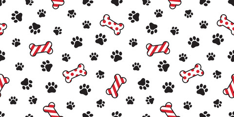 Dog paw seamless pattern vector Christmas Santa Claus Xmas dog bone french bulldog tile background scarf isolated illustration cartoon repeat wallpaper