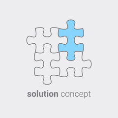 Puzzle with colored part as symbol that in any case it important find a solution. Concept of integration leading to success. Use as logo icon sticker symbol banner poster advertising. Vector isolated.