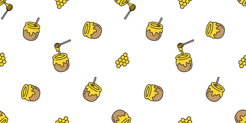 honey seamless pattern vector bear bee polar bear bakery bake jam food scarf isolated illustration tail background wallpaper