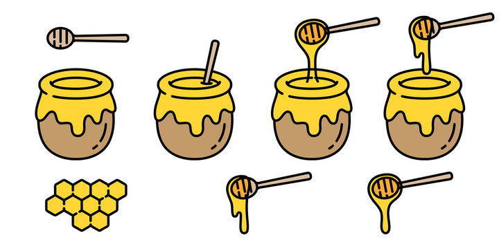 honey vector bear bee polar bear food bakery bake jam character cartoon illustration
