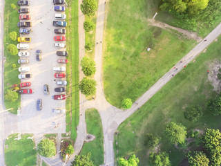 Aerial view full cars at parking lot in American urban park. Congestion, crowded parking with other cars try getting in and out, finding space. Rows of cars, road sign for disabled drivers, green tree