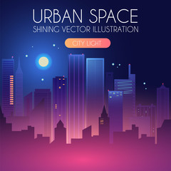 Night City Background with Shining Moon. Urban Lights. Modern Cityscape.