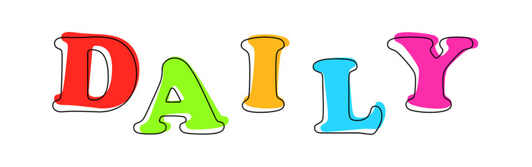 Daily - multicolored cartoon text on white background