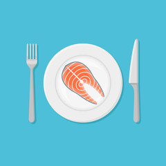 Plate with salmon steak isolated on blue background. Top view. Flat style vector illustration.
