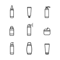 Vector set. Icons of roll-on deodorant, tooth paste, cream, bottle of serum, shampoo, shower gel, liquid soap. White background. Flat style, black line silhouette