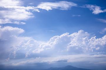 大空 青空 雲 山影
