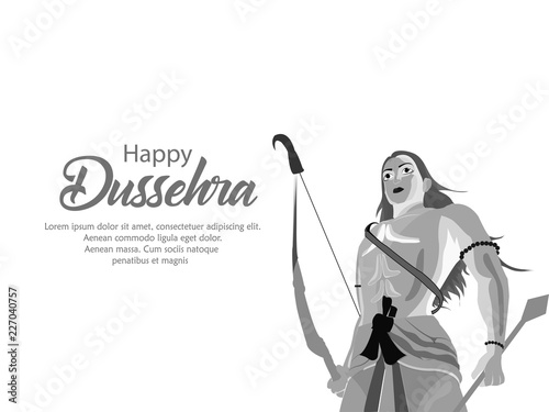 Creative banner poster for Lord Rama killing Ravana during