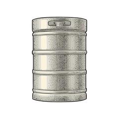 Metal beer keg. Vintage vector engraving illustration