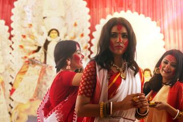 Sindoor Kheyla By Married Ladies During Durga Puja Wall mural